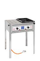 Sistem Grill '1050' otel cromat, pe gaz, 2 arzatoare reglate independent, include termocuplu, aprindere electrica, tava,fara suport are inaltimea de  300 mm ,consum de  653 g/h 650x515x(H)825 mm. puterea 9,2 Kw, presiunea 50 mbar