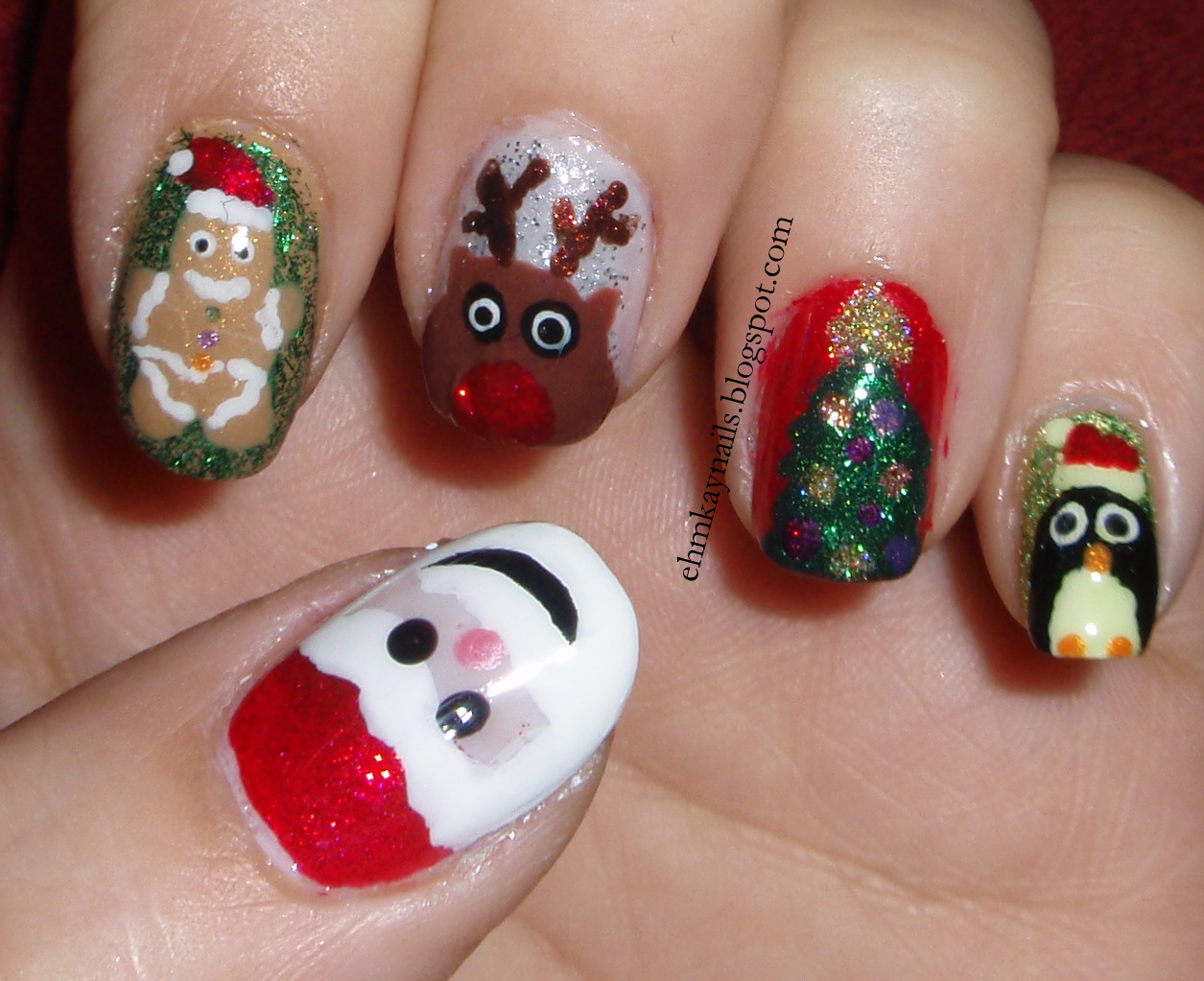 Character Design Nail Art : Ehmkay nails blast from the past christmas character
