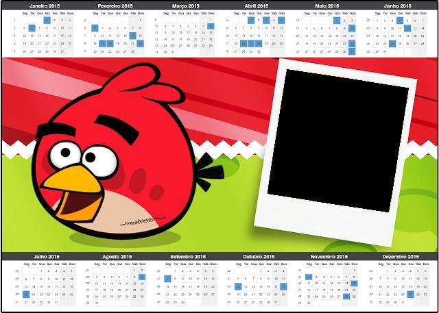 Calendario 2105 para imprimir gratis de Angry Birds.