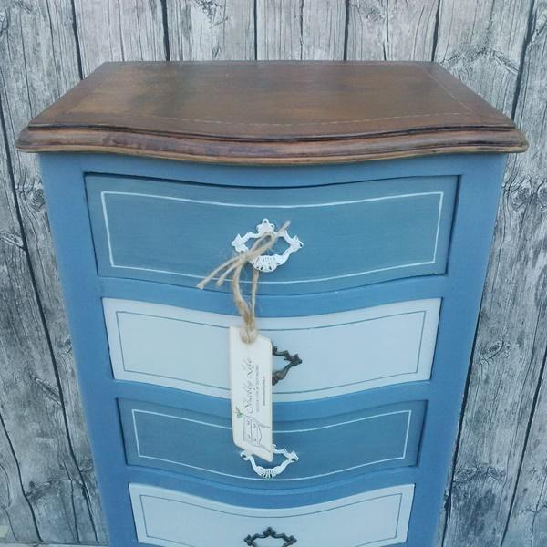 mobiletto in blu e grigio con cassetti