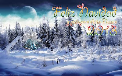 Postal de invierno con mensaje de Feliz Navidad y Año Nuevo 2013