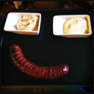 Grilled Slovak sausage with mustard & horseradish