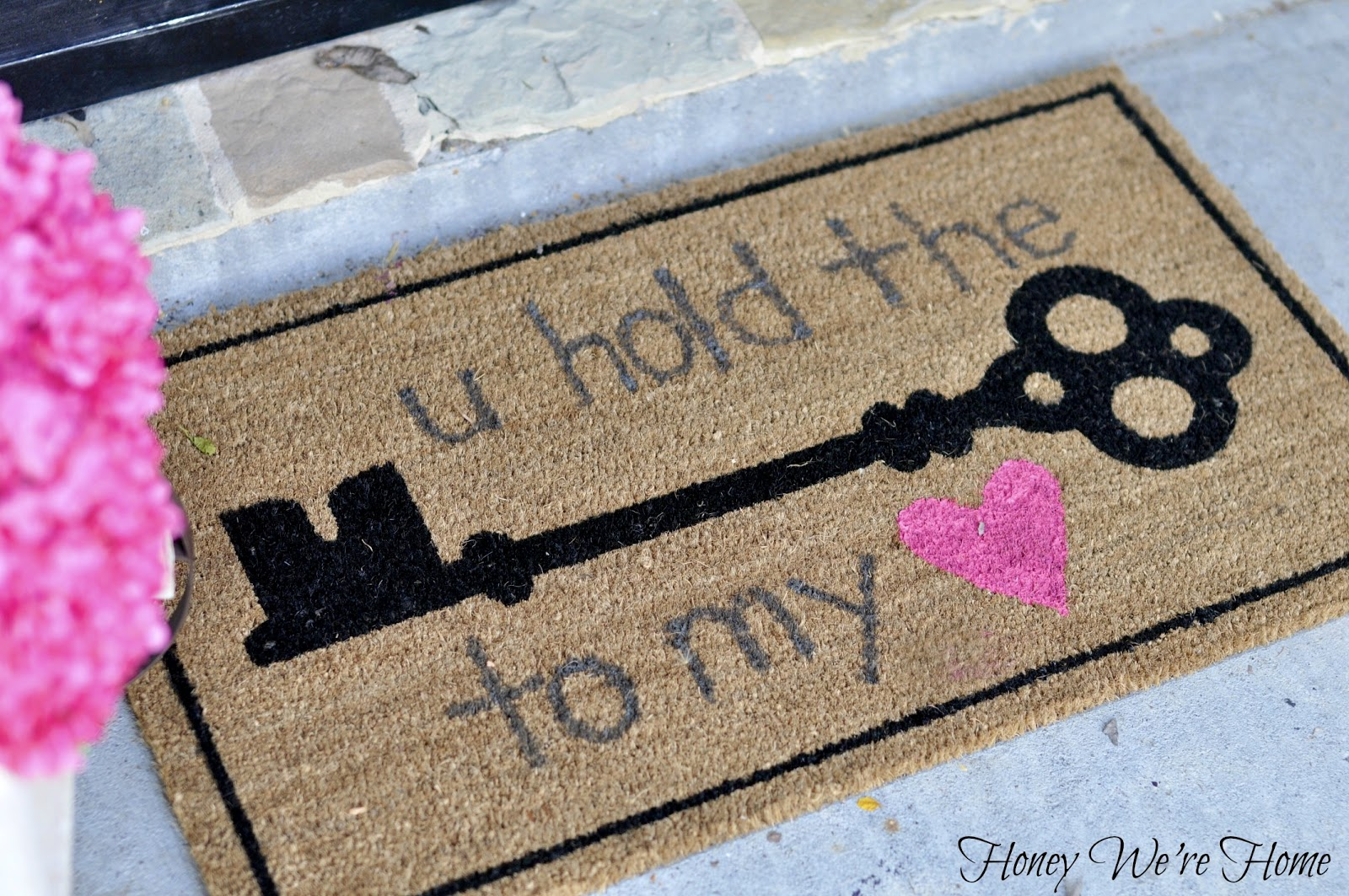Valentine ideas diy welcome mat honey we 39 re home for Diy welcome home decorations