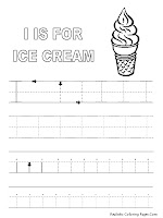 Alphabet Tracer Pages I Ice Cream
