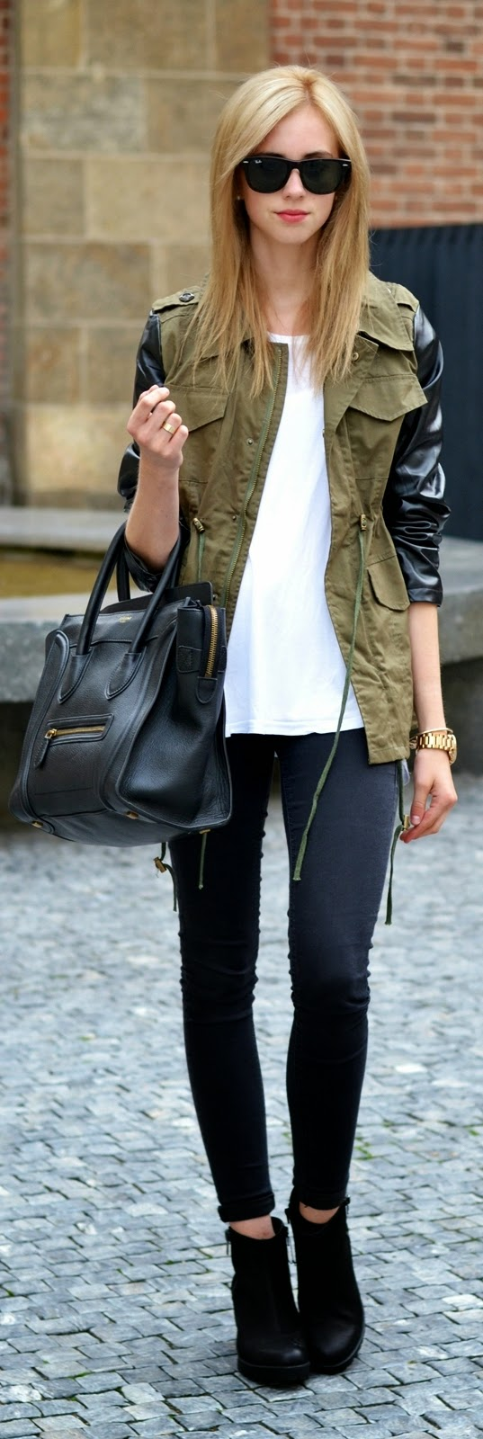 Khaki Army Print Jacket with Skinnies Jeans and Leather Handbag | Street Outfits