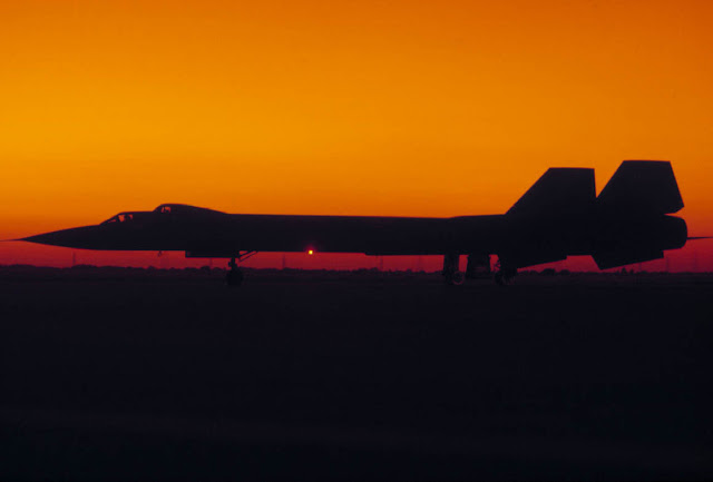 SR-71 on the ground during sunset