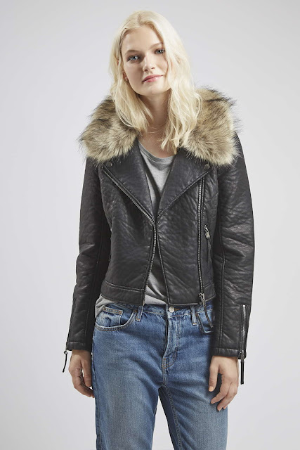 fur collar leather jacket,