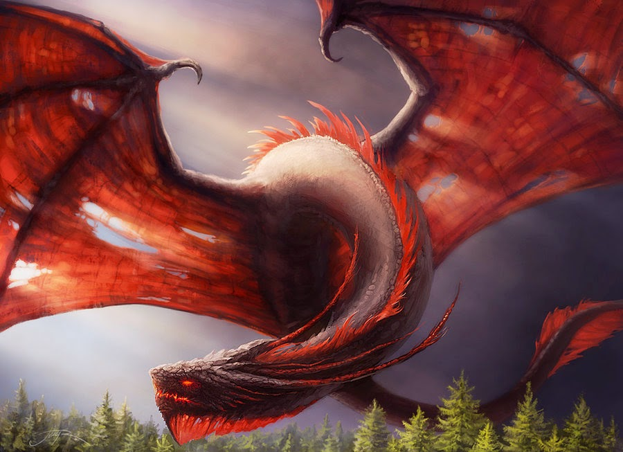 Dragon with old wings