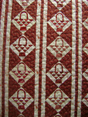 red white quilt; basket quilt