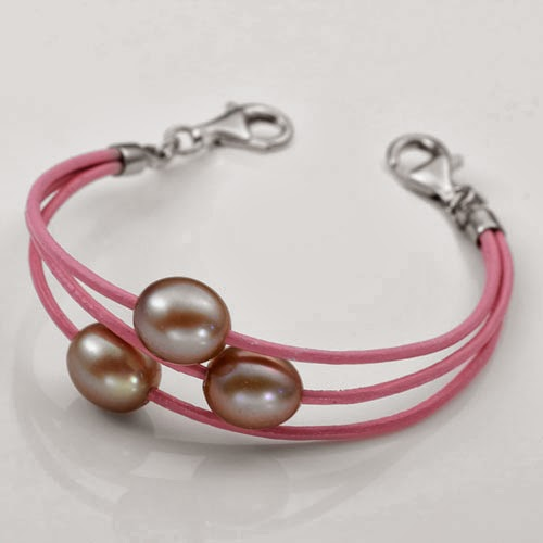 pink leather pearl bracelet