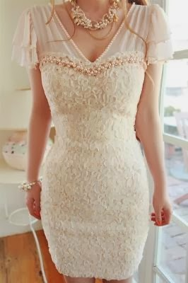 Apricot Color V-Neck Dress With Stone And Lace