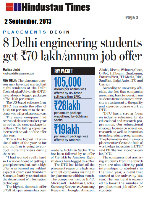 8 dtu students bags 73 5 lakh per annum package at campus placements. Black Bedroom Furniture Sets. Home Design Ideas
