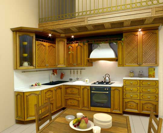 Latest kerala model wooden kitchen cabinet designs wood for Model kitchen design