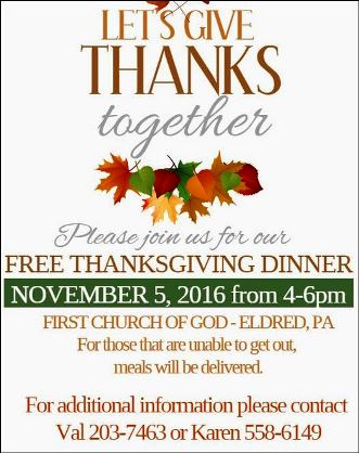 11-5 Free Thanksgiving Dinner First Church Of God
