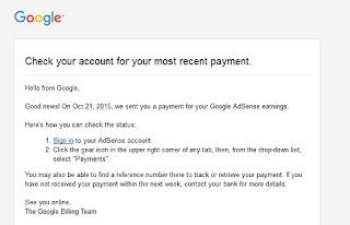 Google adsense payment alert mail