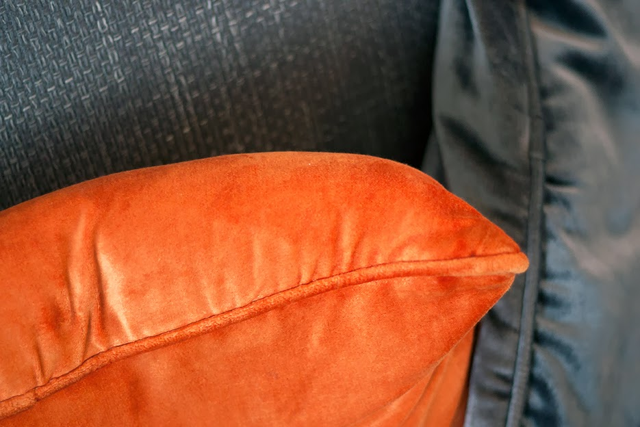 orange and grey pillows