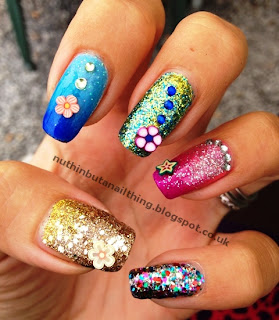glitter nails nail art fimo decals gradient