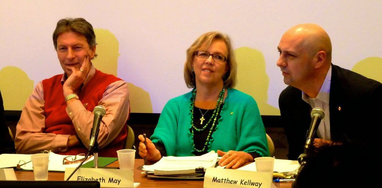 John McKay (Liberal), Elizabeth May, Matthew Kellway (NDP).