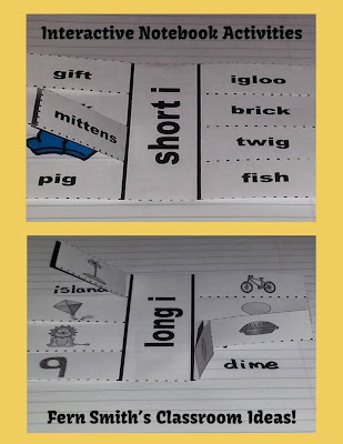 Fern Smith's Long and Short Vowel Sorting Center Games and Interactive Notebook Activities.
