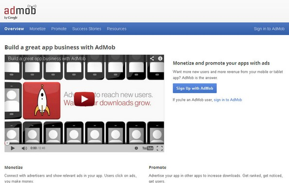 AdMob mobile app monetization service