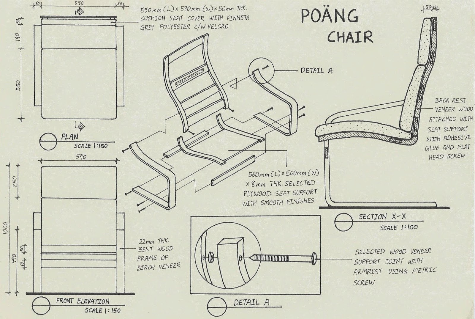 chair design drawing. Detail Drawing For POANG Series Chair By IKEA. This Assembly Consists Of Plan View, Front Elevation, Cut Section And Blown Up View Chair, Design