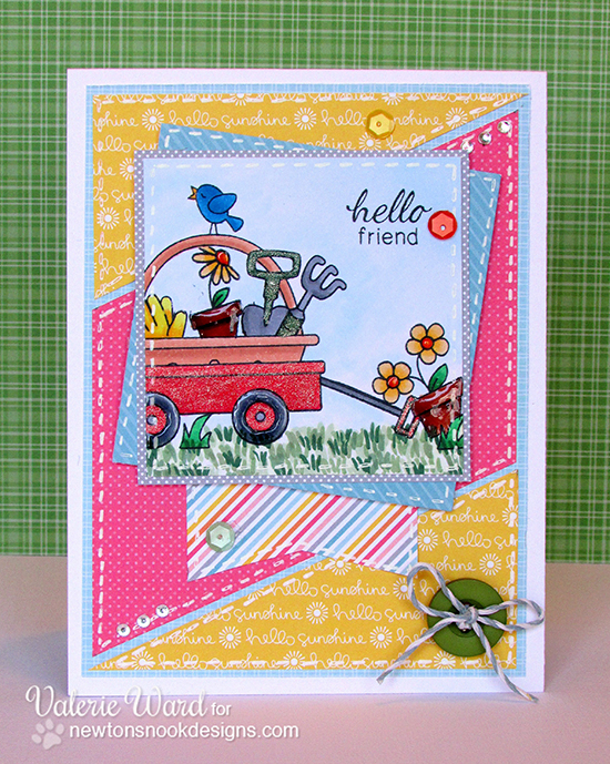 Sweet Spring Card by Valerie Ward using Basket of Wishes and Wagon of Wishes sets by Newton's Nook Designs