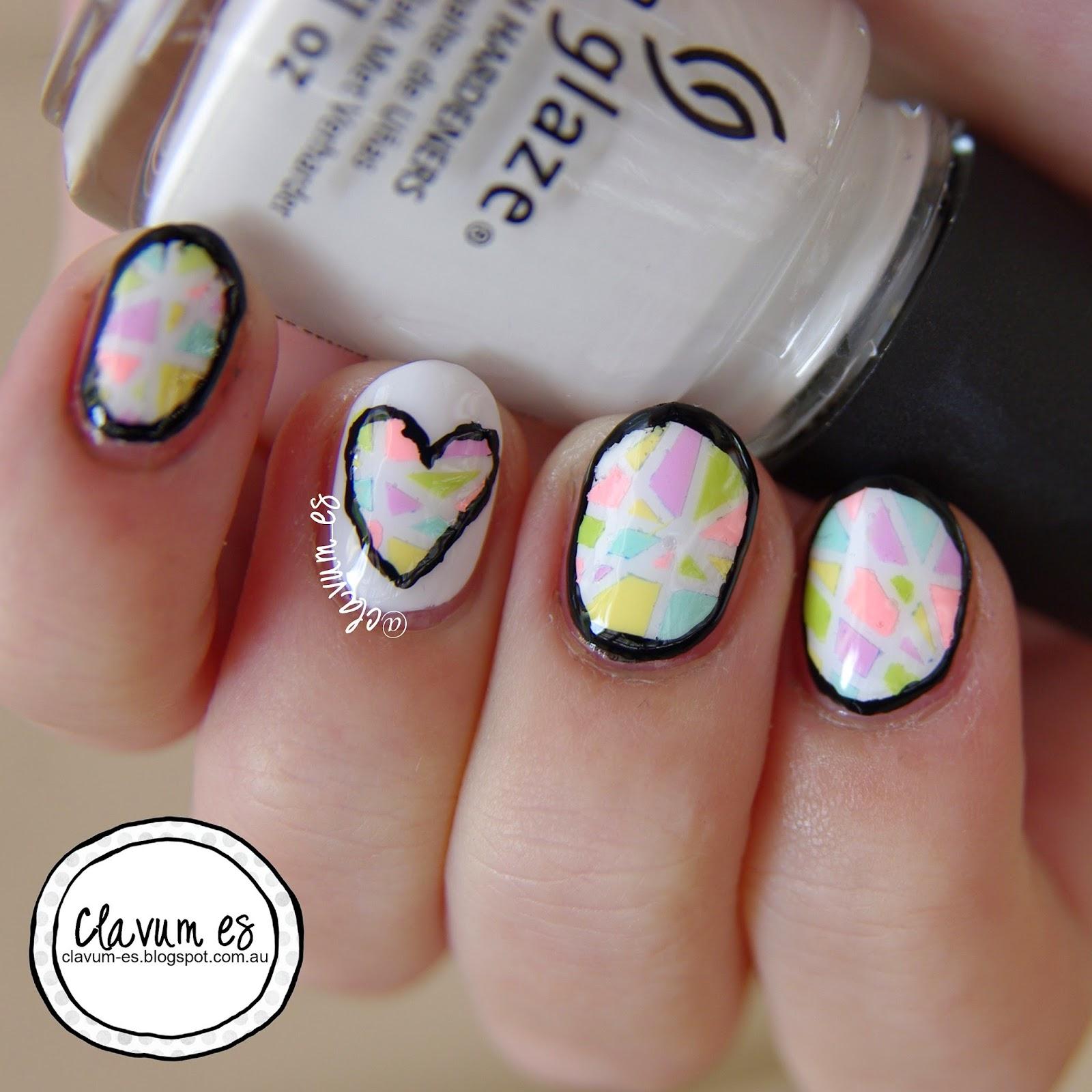 Mosaic Heart Nail Art