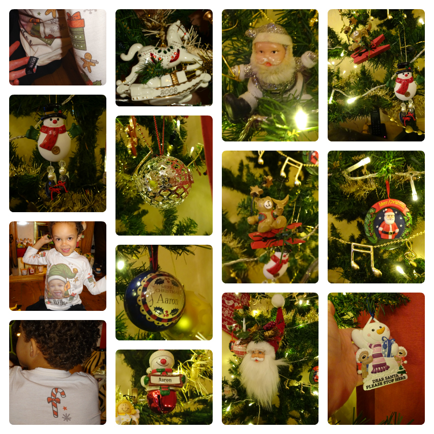 Collage of our Christmas Tree decorations