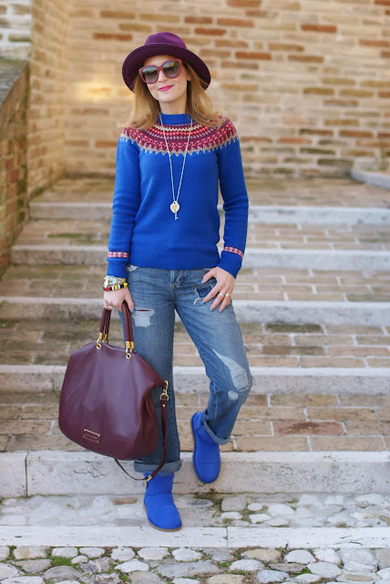 Asos Jaeger sweater, UGG blue sapphire boots, Dolce & Gabbana burgundy sunglasses, fair isle jumper, Ecua-Andino hat, Fashion and Cookies, fashion blogger