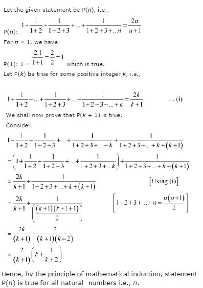 1 + 1/(1+2) + 1/(1+2+3)+ …+ 1/(1+2+3+….n)= 2n/(n+1)