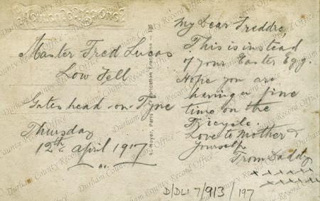 Easter postcard sent by Private Fred Lucas, 12 April 1917, reverse (D/DLI 7/913/197)