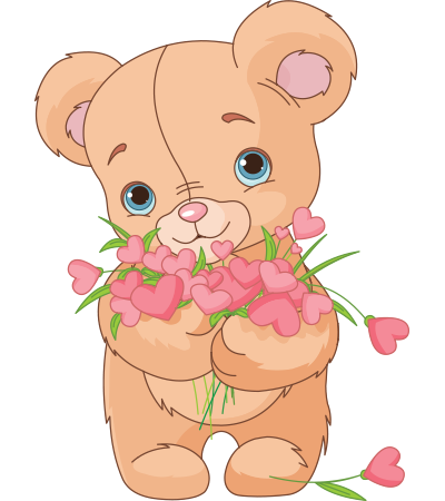 Teddy holding bouquet of hearts