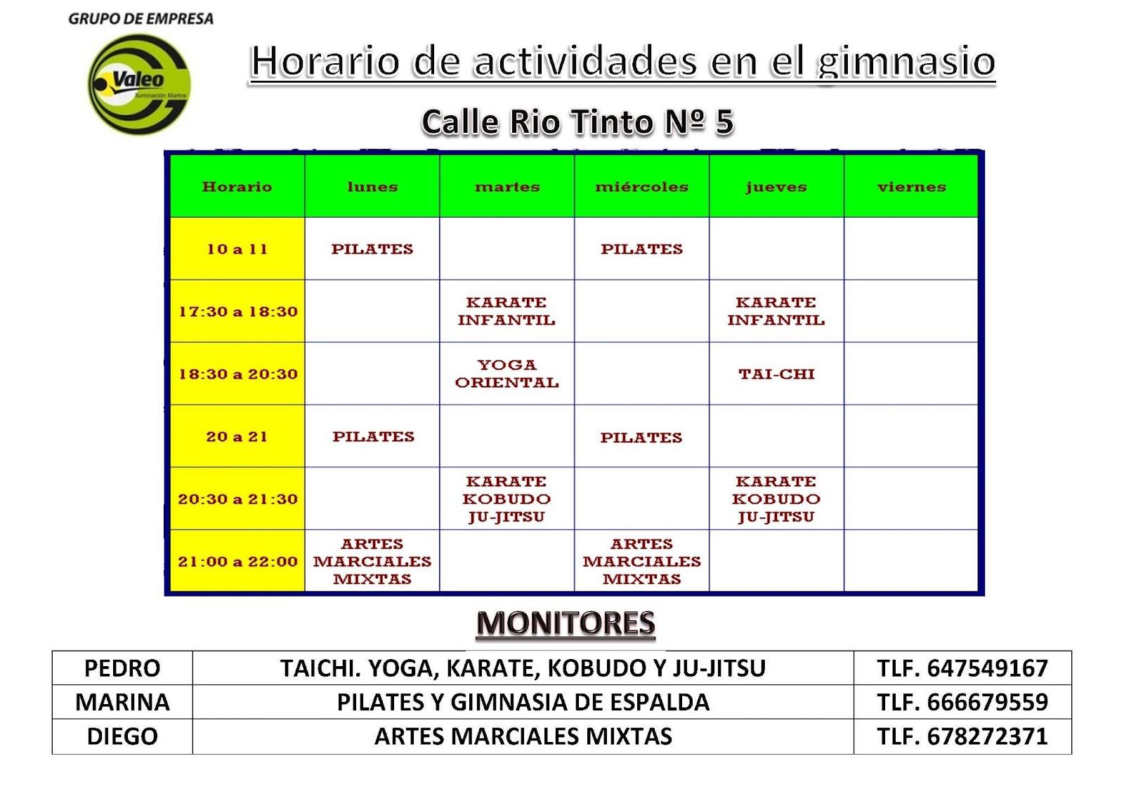 Grupo de empresa valeo martos horario de actividades de for Horario gimnasio