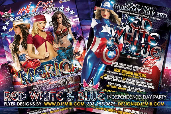 Mericuh Red White And Blue 4th of July American Independence Day Flyer Designs Colorado Springs CO