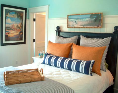 go coastal with blue and orange room decor completely coastal