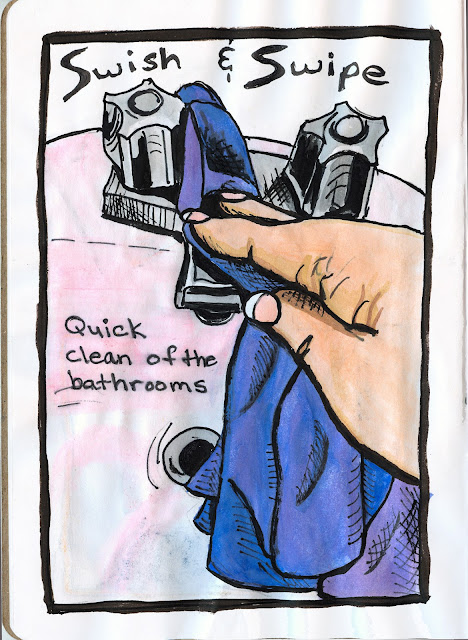 Swish and Swipe bathroom cleaning. Watercolour with Ink. By Ana Tirolese ©2012