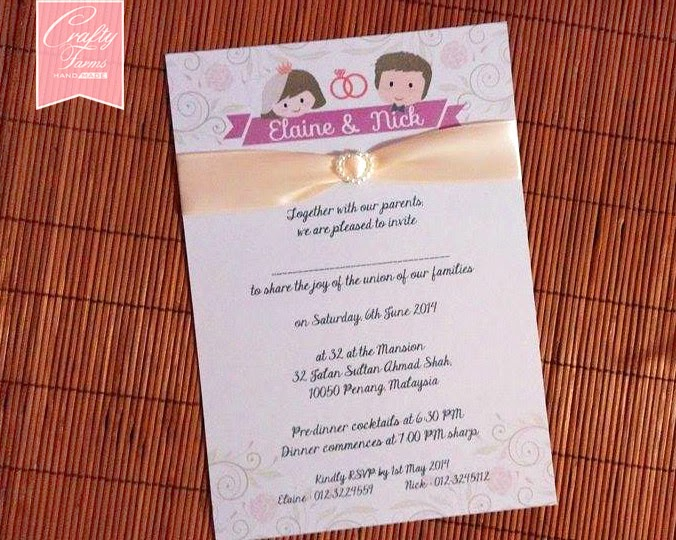 Cute Cartoon Couple Wedding Card with Ivory Pearl and Ribbon