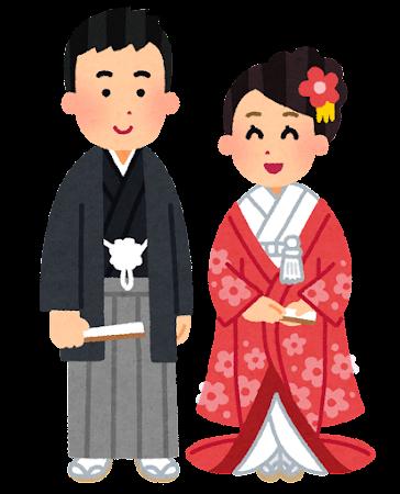 新郎新婦・花嫁花婿のイラスト(色打掛)