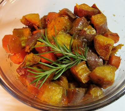 Sweet potatoes with rosemary & peach marmalade