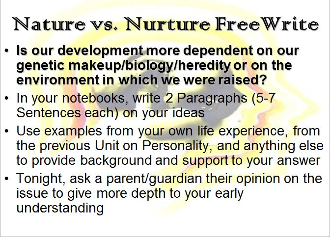 Essay on nature and nurture