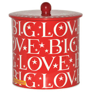 red biscuit bin that says Big Love