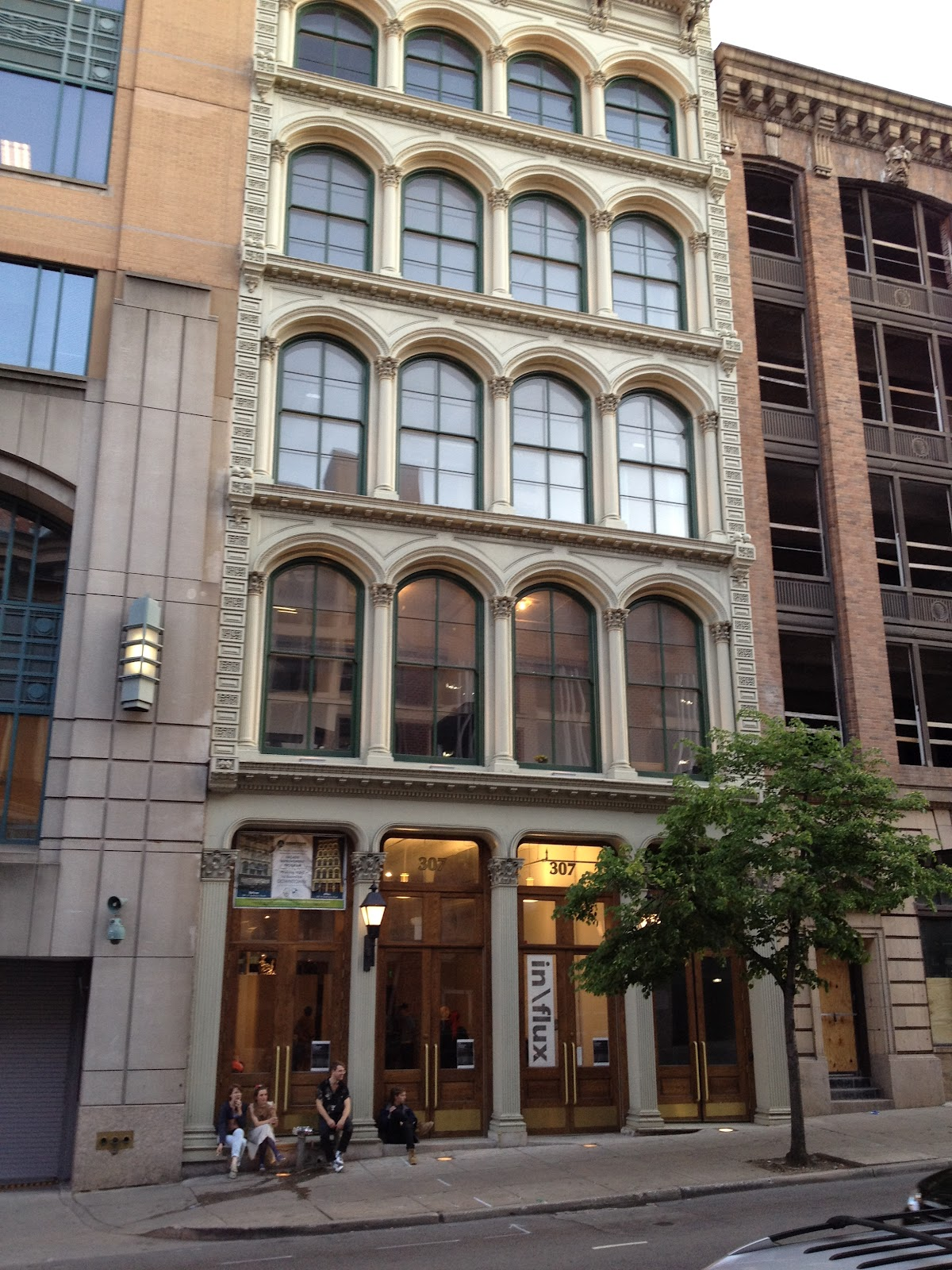 example of the beautiful facades in the former garment district of the westside