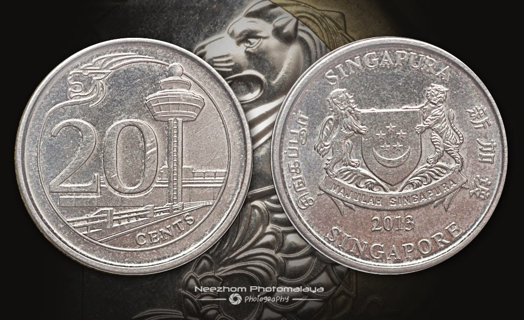 Singapore coin 20 cents 2013