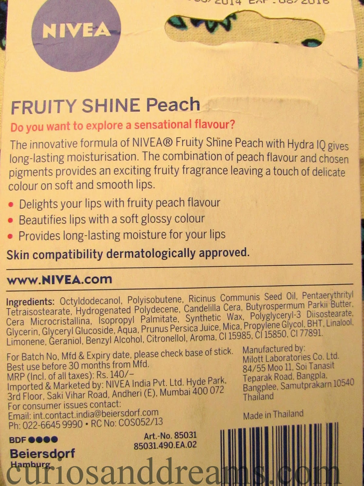 Nivea Fruity Shine Peach Review
