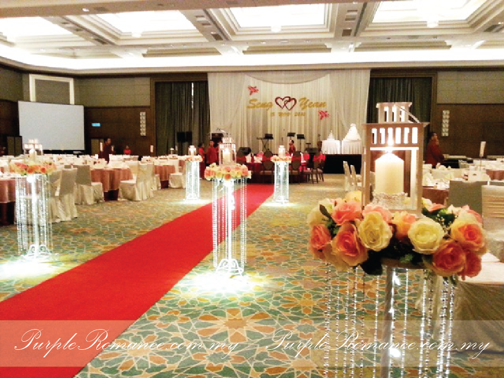 Floral Stands With Metal Lantern, Block Candles, IKEA, dangling pearls, stage decoration, Mandarin Oriental Hotel, Grand Ballroom, Kuala lumpur, Selangor, roses