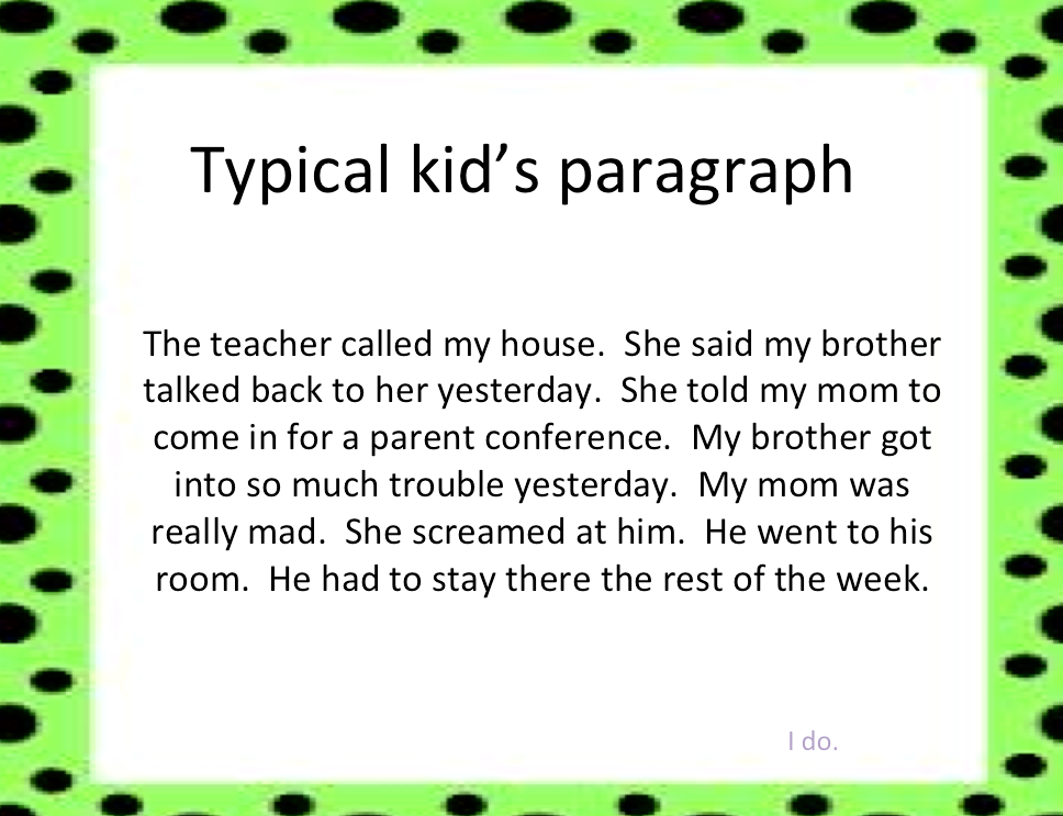 paragraph writing kids