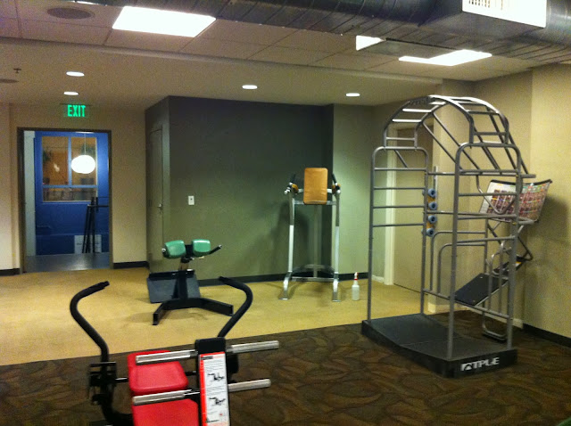 blocked off wall of reduce third floor workout area