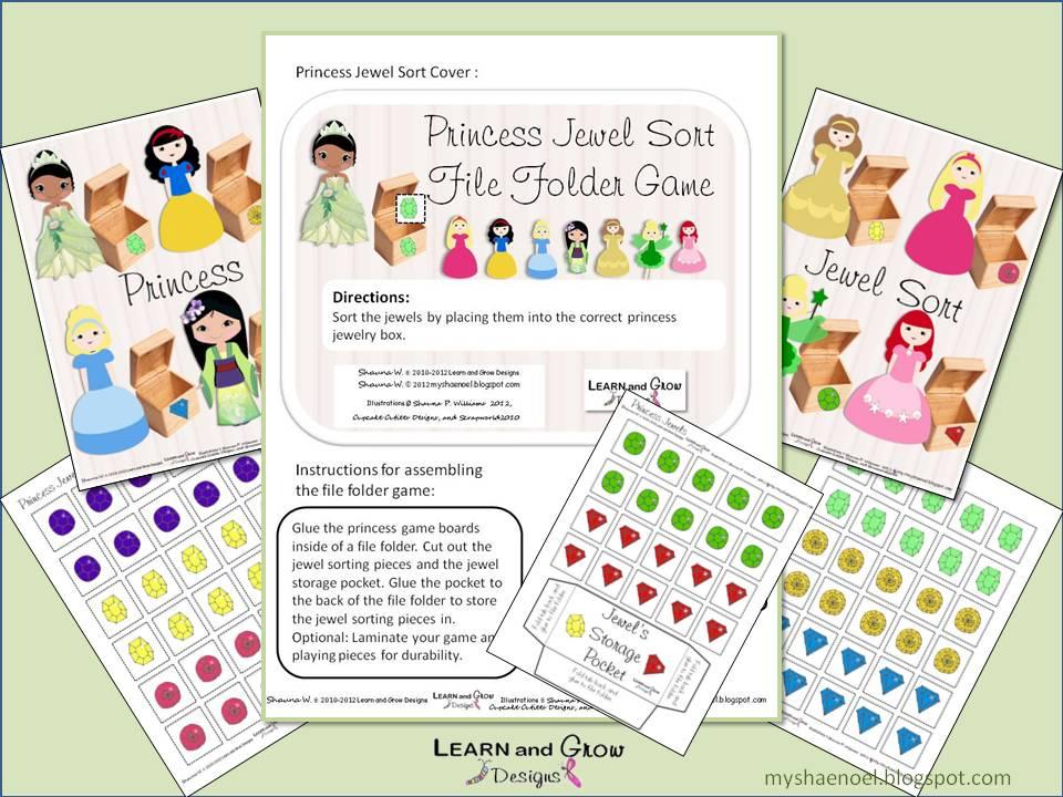 learn and grow designs website princess color jewel sort file