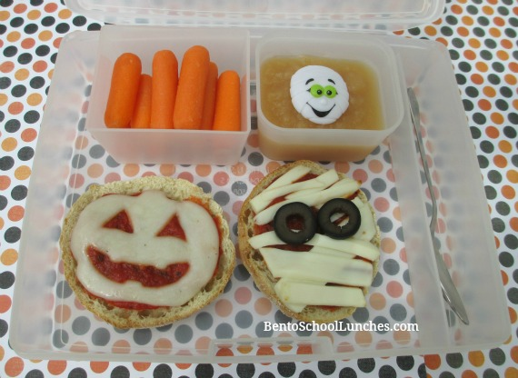 Pizza Mummy and Jack-O-Lantern Pizza. BentoSchoolLunches.com