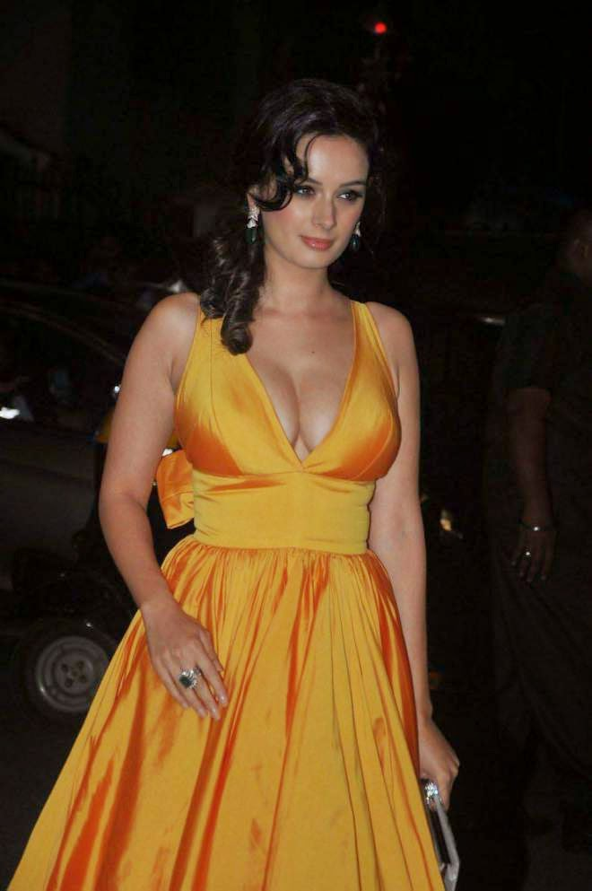 Evelyn Sharma Deep Cleavage Photos in Yellow Sleeveless Gown